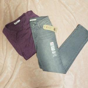 NWT 712 Slim Levis Jeans-Light Wash Grey 25x32